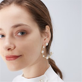 Ericdress Pearl Semi Hoop Earrings