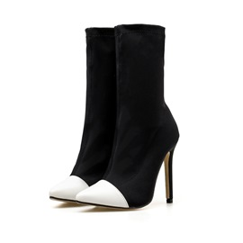 Ericdress Patchwork Pointed Toe Stiletto Heel Calf High Boots