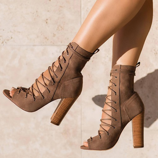 Ericdress Lace-Up Front Chunky Heel Women's Ankle Boots