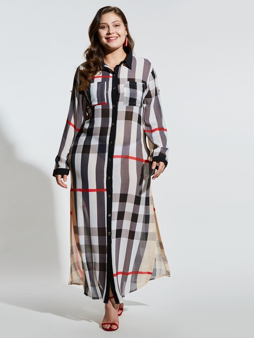 Ericdress Plus Size Single-Breasted Print Plaid Sweet Dresses