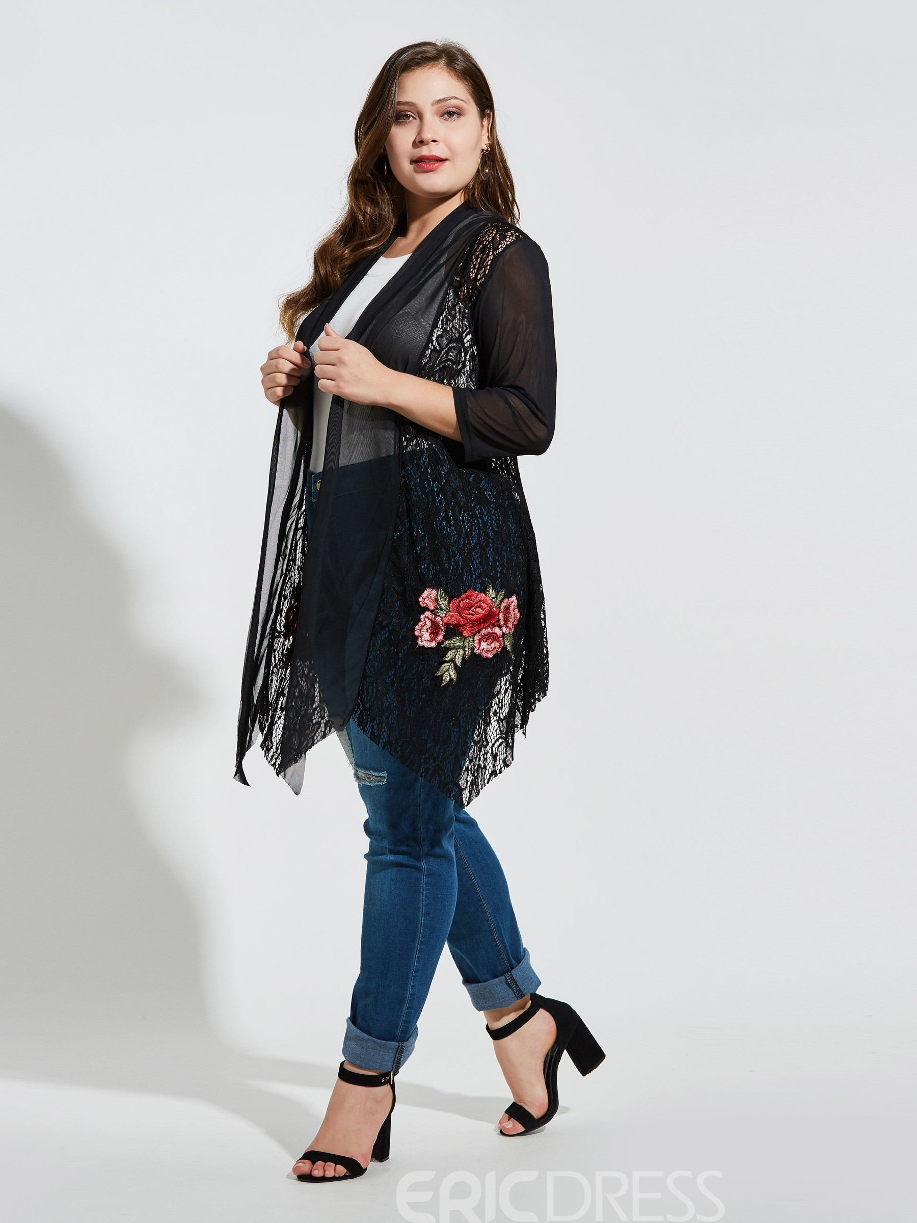 Ericdress Embroidery Floral See-Through Plus Size Blouse