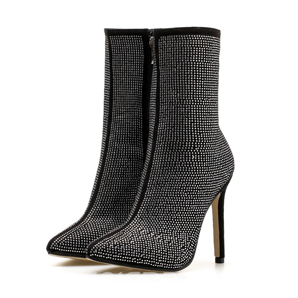 Ericdress Rhinestone Pointed Toe Stiletto Heel Calf High Boots