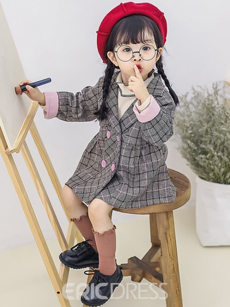 Ericdress Plaid Notched Lapel Double Breasted Baby Girl's Casual Blazer