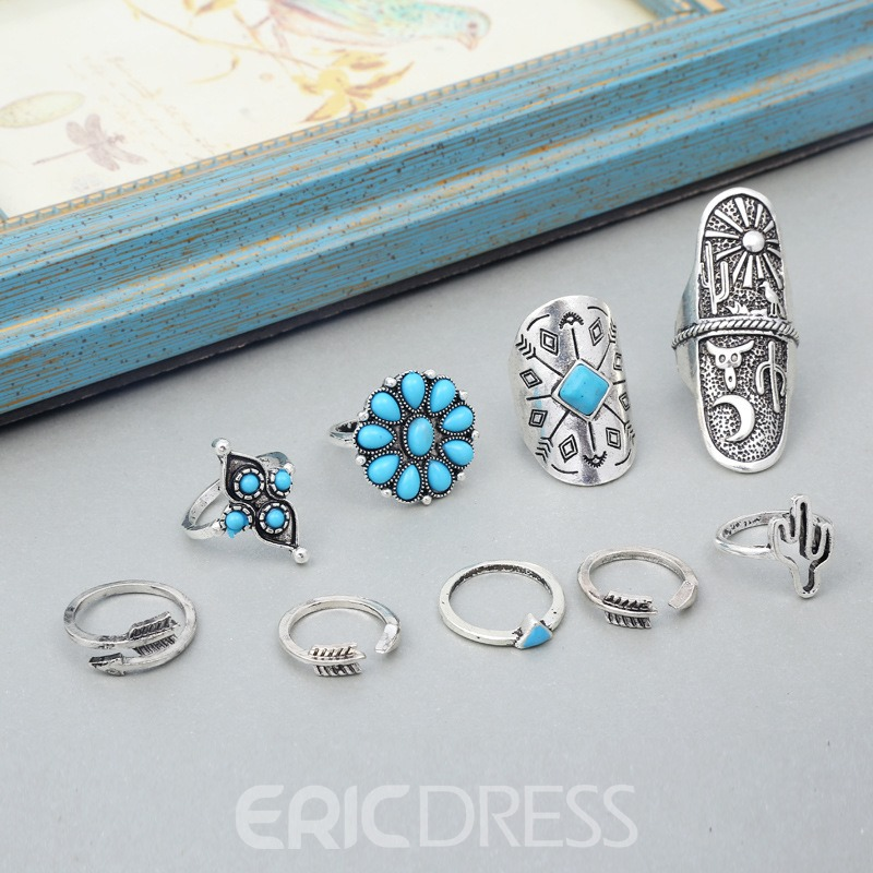 Ericdress Turquoise Vintage Bohemian Style Ring