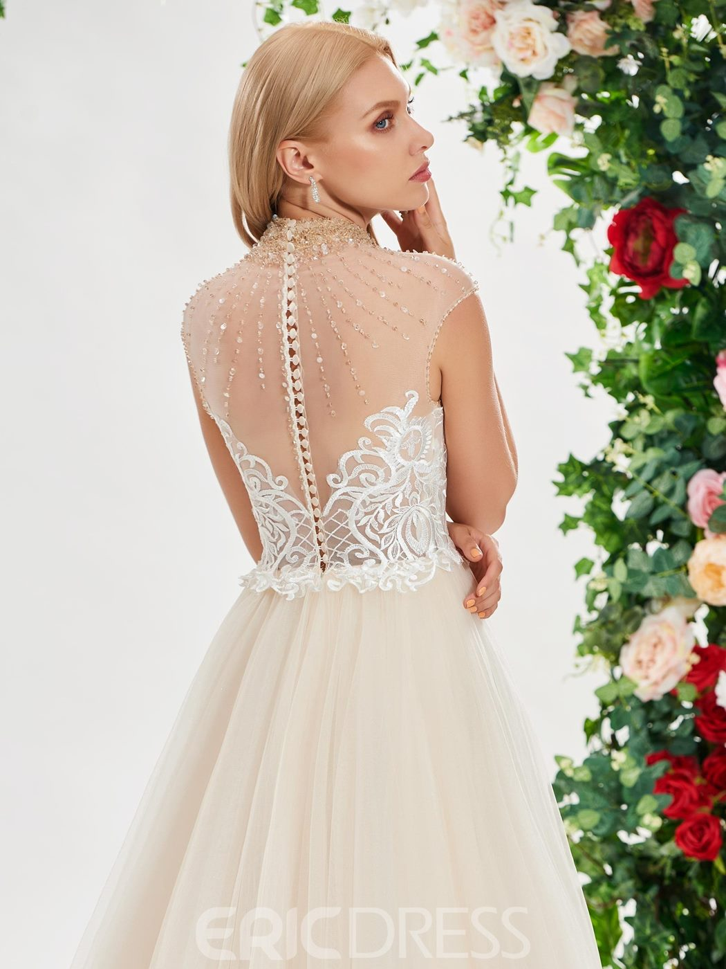 Ericdress Beading High Neck Lace Wedding Dress