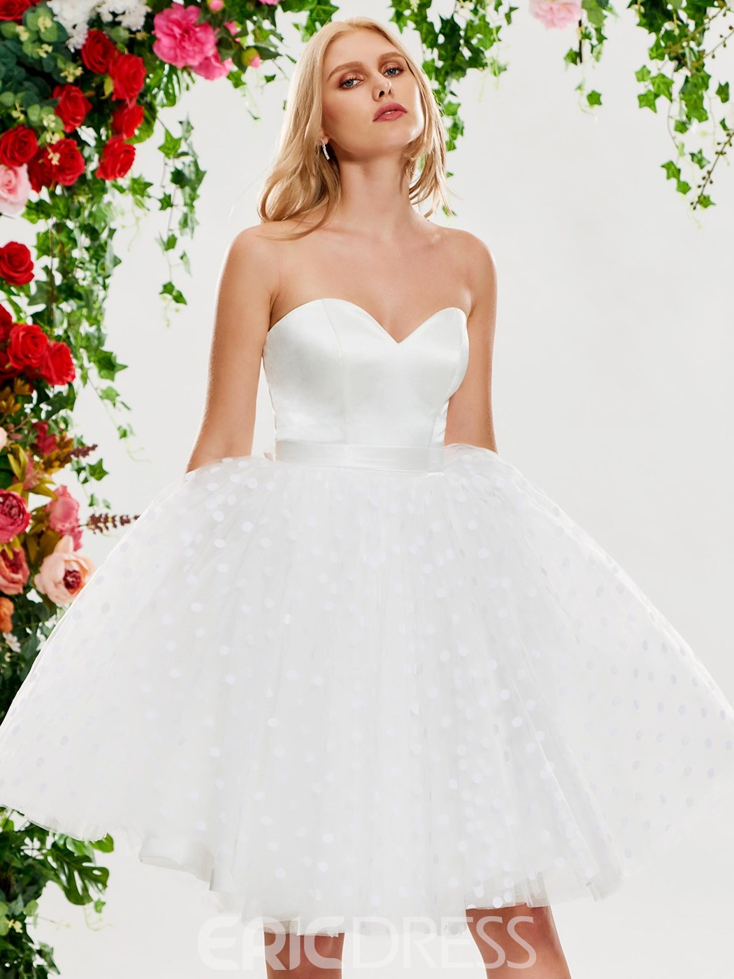 Ericdress Sweetheart Dots Tulle Short Wedding Dress