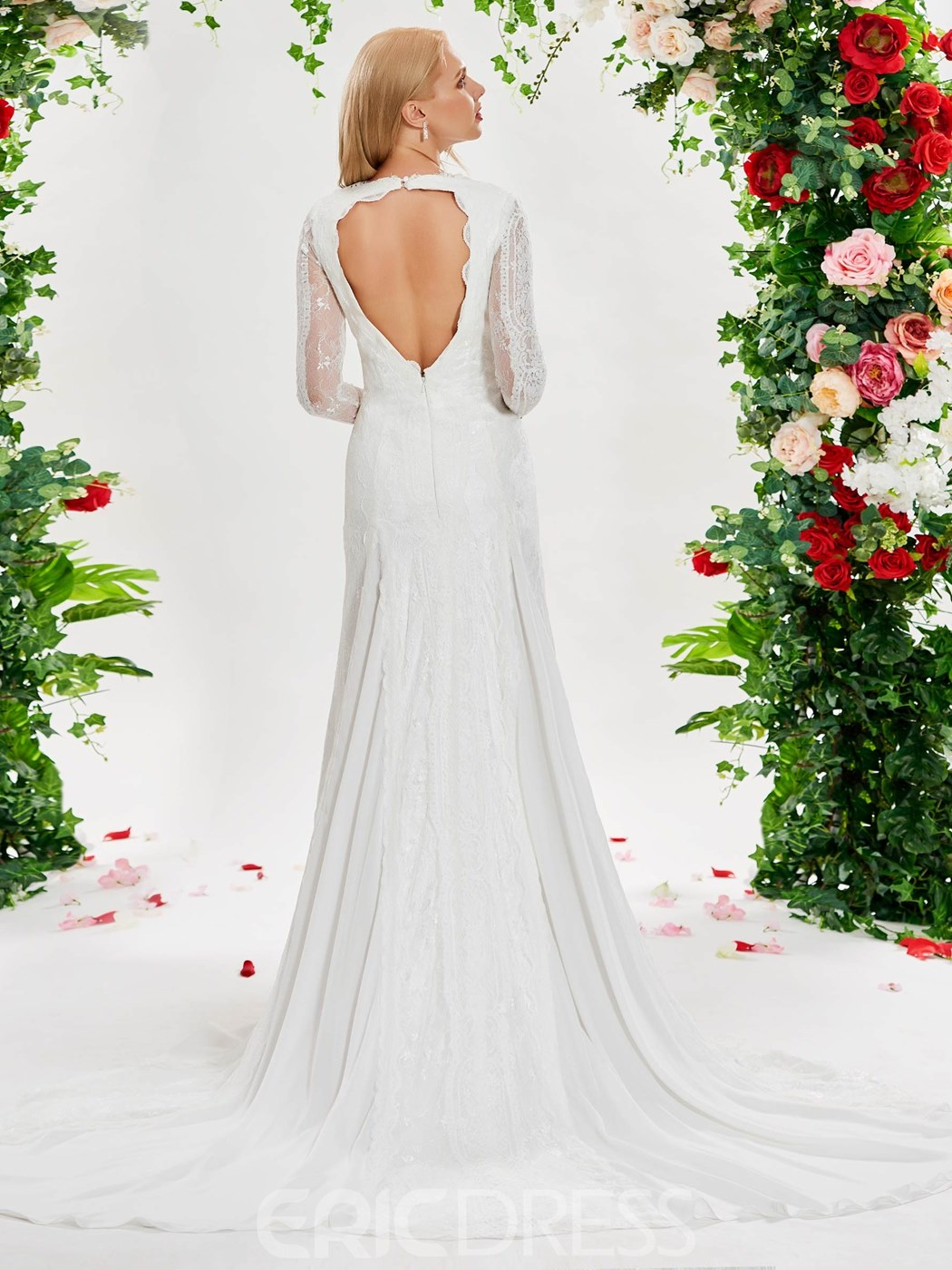 Ericdress Sheath Long Sleeves Lace Backless Wedding Dress