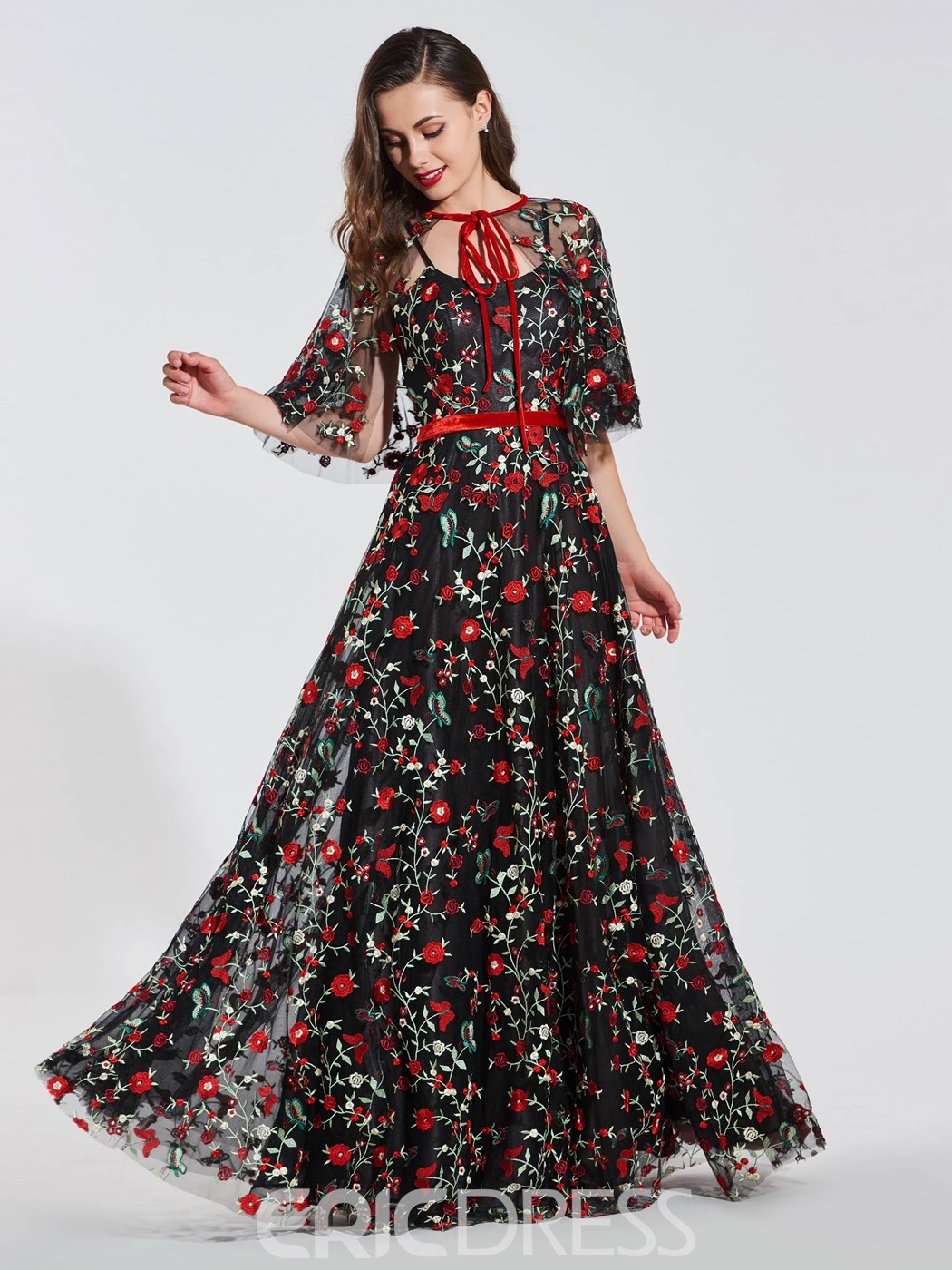 Ericdress A Line Embroidery Evening Dress With Cape