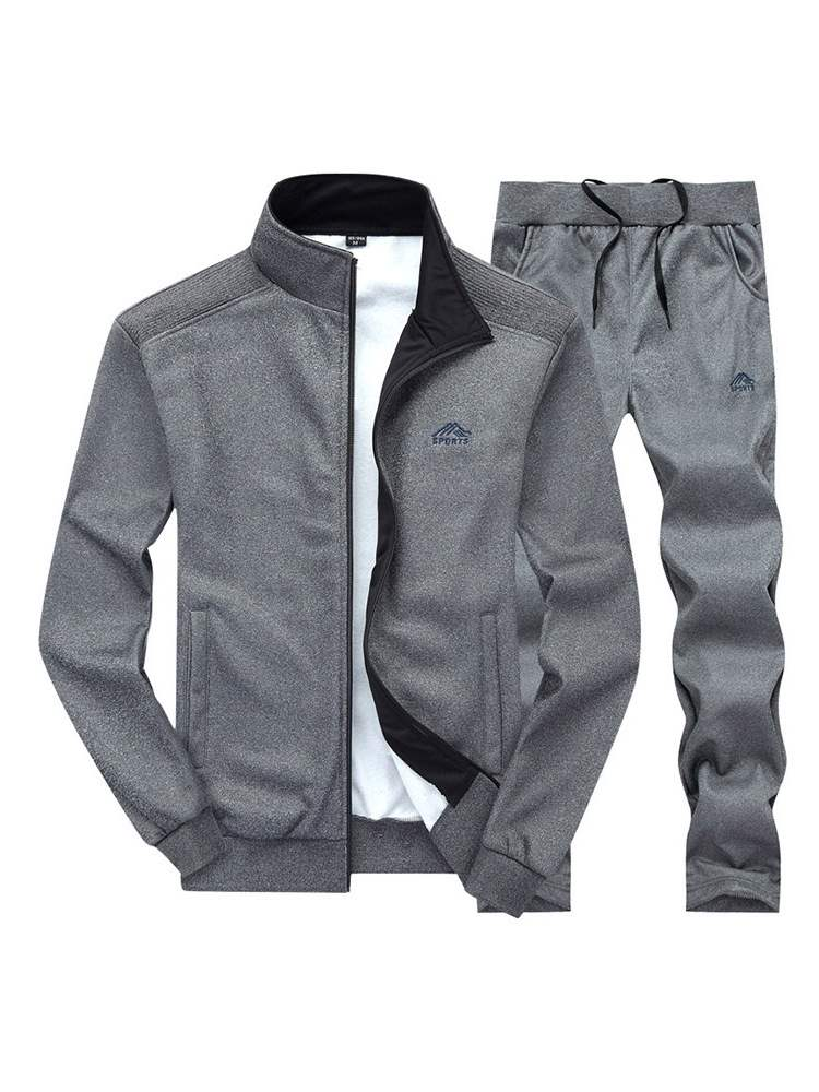 Ericdress Plain Printed Mens Casual Sports Suits