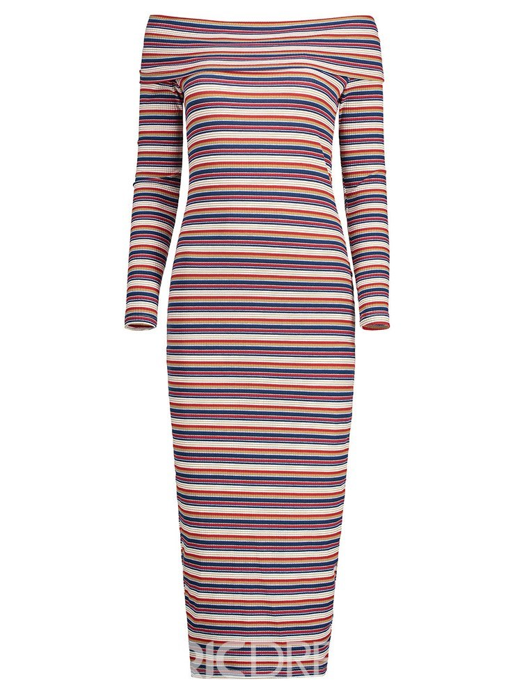Ericdress Stripe Off the Shoulder Knit Women's Pencil Dress