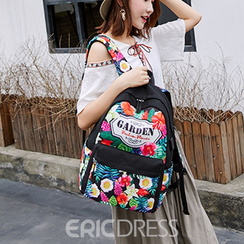 Ericdress Floral Canvas Zipper Women Backpack