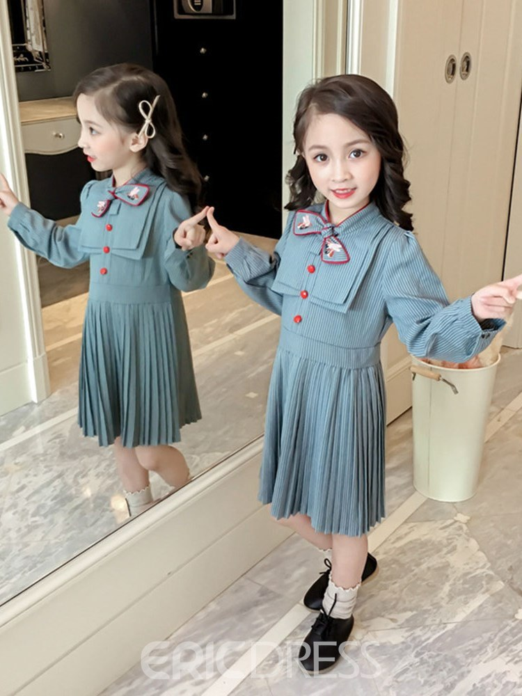 Ericdress Pleated Button Bowknot Stand Collar Girl's Long Sleeve Dress