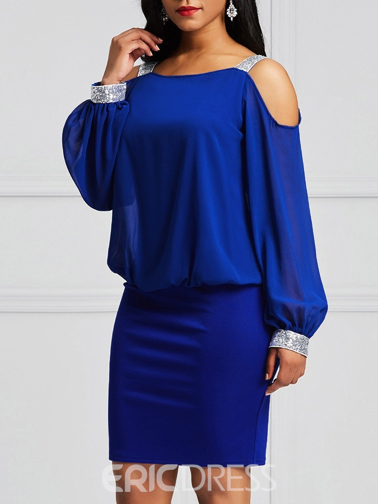 Ericdress Bodycon Cold Shoulder Lantern Sleeves Women's Dress