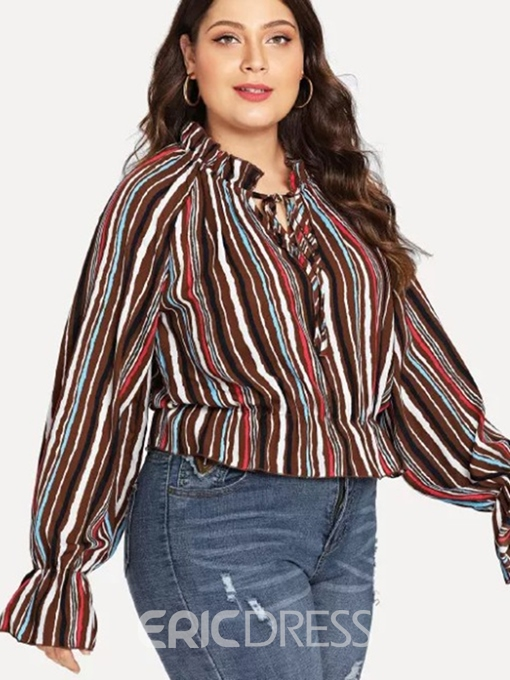 Ericdress Stripe Lace-Up Plus Size Flare Sleeve Blouse