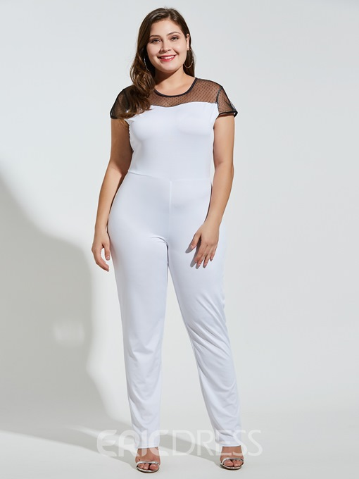 Ericdress Plus Size Plain Mesh High Waist Skinny Jumpsuit