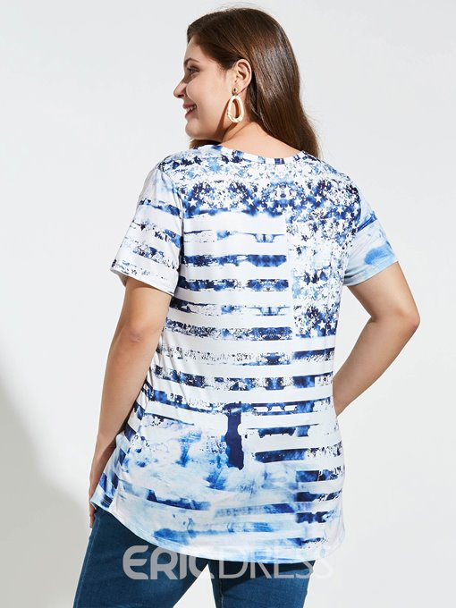 Ericdress Mid-Length Star Print Plus Size T-Shirt
