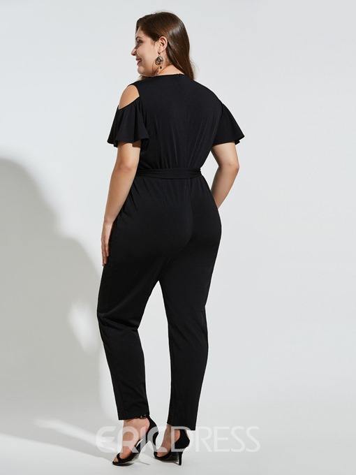 Ericdress Plus Size Sweet Plain Patchwork Slim Jumpsuit