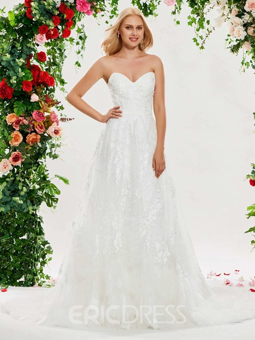 Ericdress Sweetheart Appliques Beading Lace Wedding Dress
