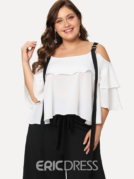 Ericdress Ruffle Sleeve Patchwork Plain Plus Size Blouse