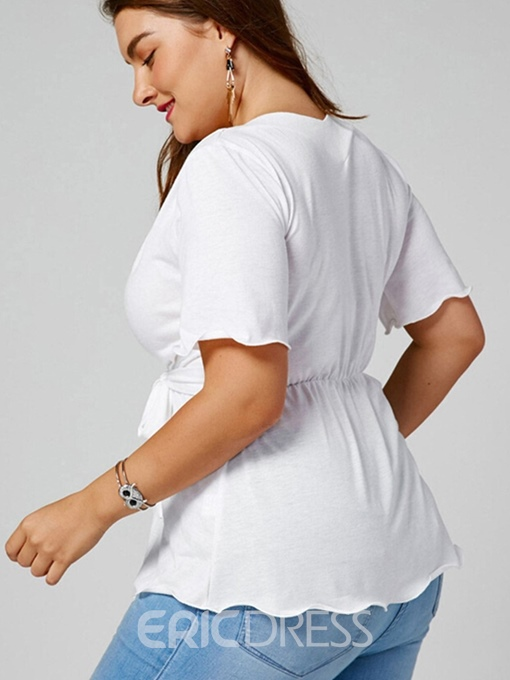 Ericdress V-Neck Lace-Up Sexy Plus Size T-Shirt