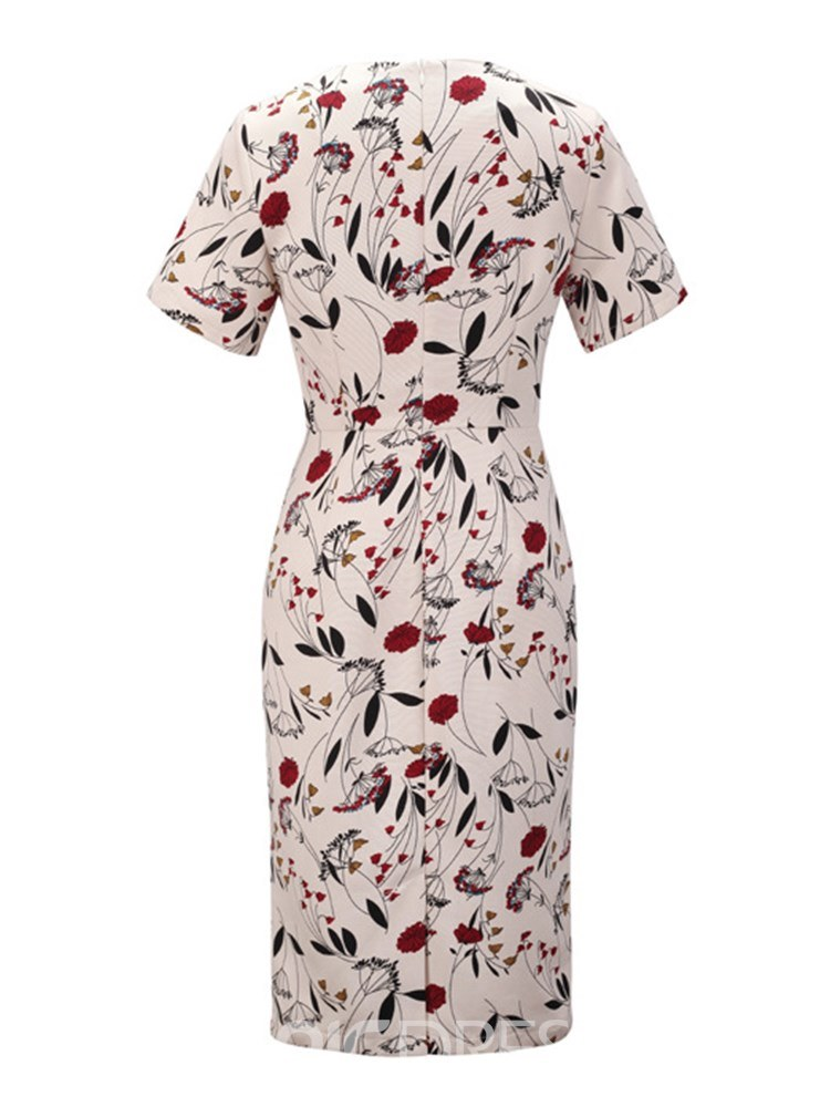 Ericdress Knee-Length Bodycon Floral Print Women's Dress