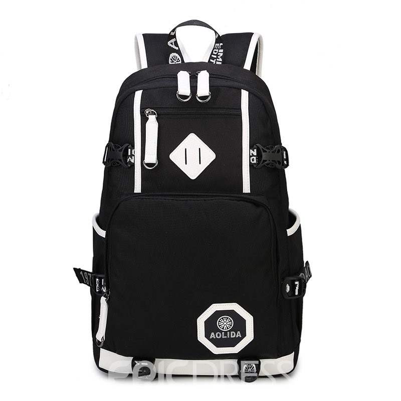 Ericdress Plain Zipper Color Block Unisex Backpack