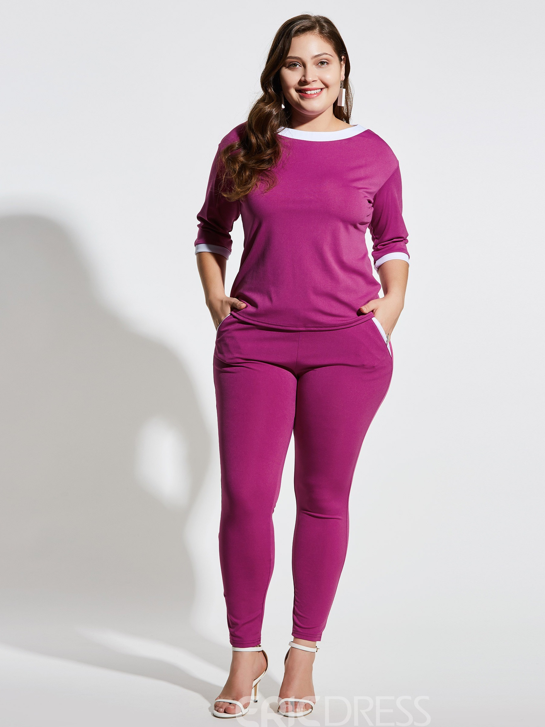 Ericdress Plus Size Plain Pocket Straight T-Shirt And Pants Two Piece Sets