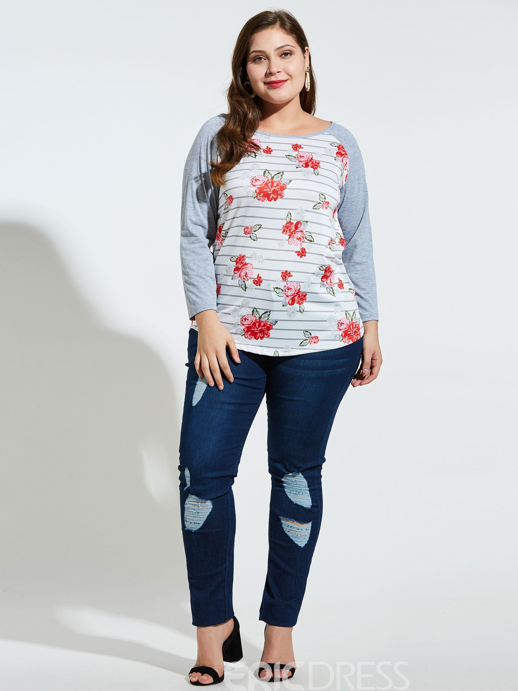 Ericdress Stripe Floral Plus Size Blouse