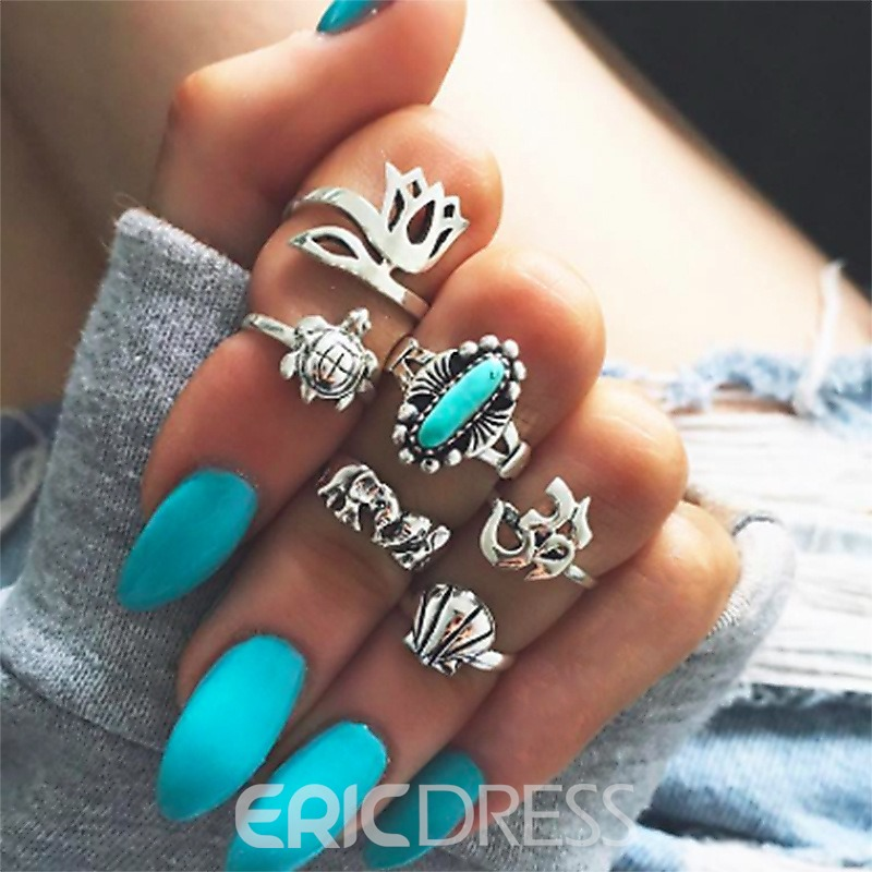 Ericdress Tortoise Turquoise Vintage Ring