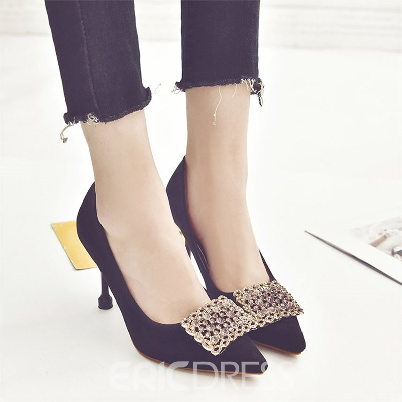 Ericdress Rhinestone Pointed Toe Stiletto Heel Women's Pumps
