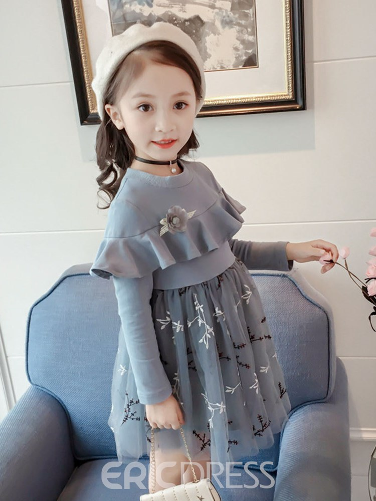 Ericdress Ruffles Pleated Mesh Embroidery Girl's Long Sleeve Dress