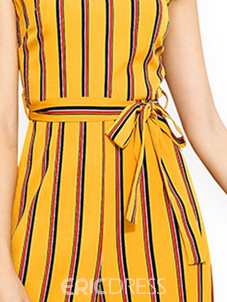 Ericdress Striped Lace-Up Wide-Leg Women's Jumpsuits