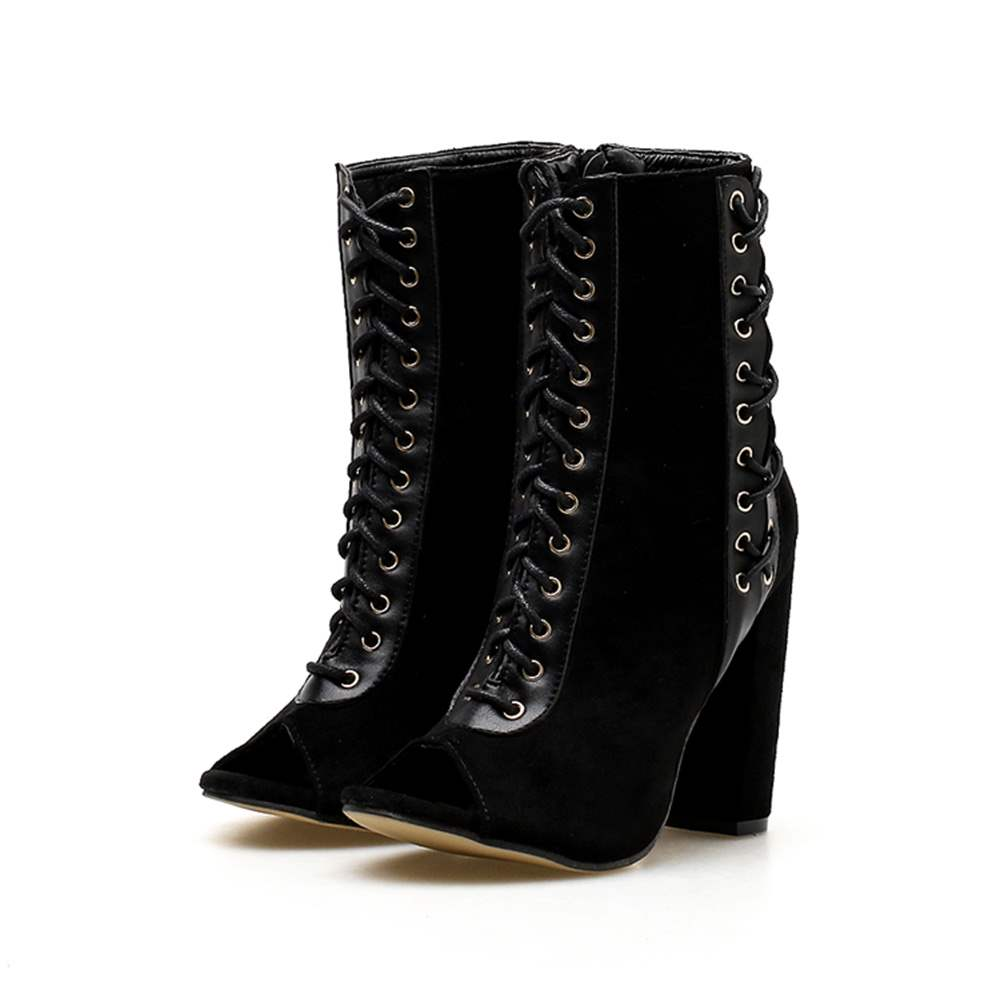 Ericdress Faux Suede Peep Toe Chunky Heel Ankle Boots