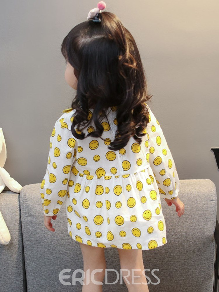 Ericdress Cartoon Printed A-Line Floral Neck Baby Girl's Casual Dress