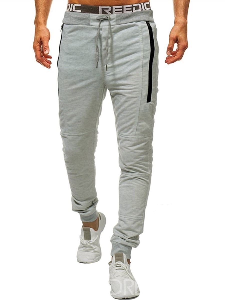 Ericdress Plain Striped Lace Up Mens Casual Sports Pants
