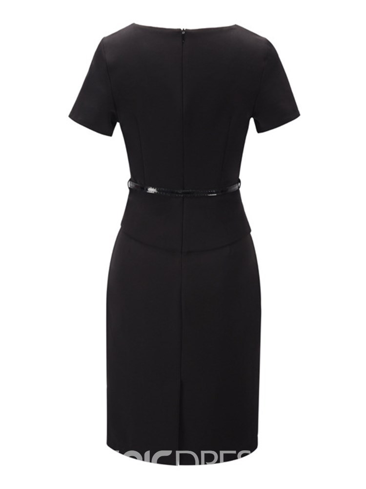Ericdress Office Lady Bodycon Plain Women's Black Dress
