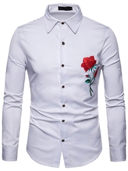 Ericdress Floral Printed Slim Button Up Lapel Mens Casual Dress Shirts фото