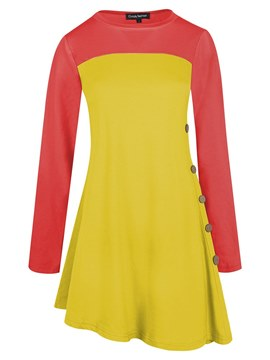 Ericdress Color Block Tunic Scoop Long Sleeve T-shirt