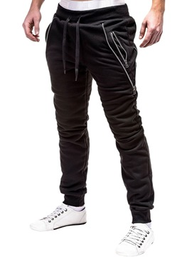 Ericdress Plain Pocket Lace Up Micro-Elastic Mens Casual Pencil Pants