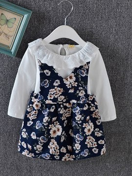 Ericdress Floral Printed Hollow Lace Baby Girl's Outfits