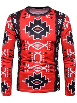 Ericdress Patchwork Geometric Printed Slim Mens Long Sleeve T Shirts