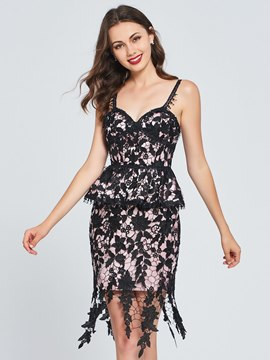 Ericdress Sheath Straps Lace Short Bodycon Homecoming Dress