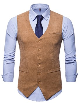 Ericdress Plain Single Breasted Pocket Thick Mens Casual Dress Vest