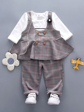 ericdress Plaid T-Shirts Weste & Hosen Baby Outfits