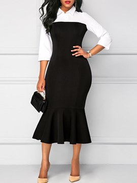 Ericdress Mermaid Color Block Office Lady Women's Dress
