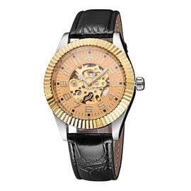 Ericdress Fashion Casual Hollow Leather Switzerland Automatic Mechanical Men's Watch