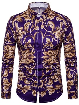 Ericdress Floral Print Slim Lapel Button Up Mens Casual Shirts