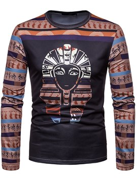 Ericdress Dashiki Geometric Printed Mens Slim Scoop T Shirts