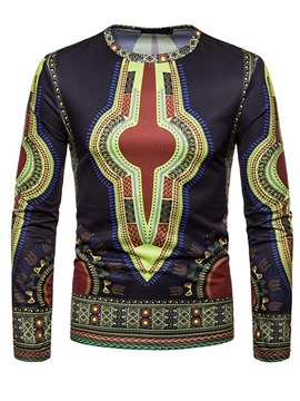 Ericdress African Fashion Dashiki Geometric Printed Mens Scoop T Shirts