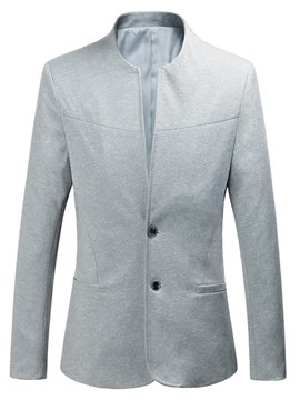 Ericdress Plain Collarless Two Button Slim Mens Casual Blazer